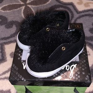 Sam Edelman Black Fur Baby Sneakers